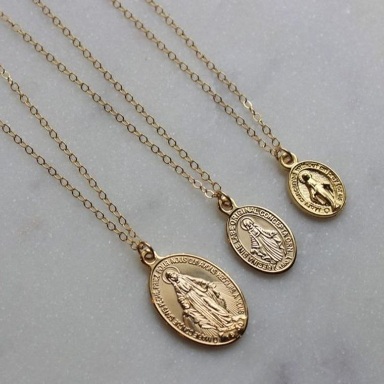 Virgin Mary Necklace, Miraculous Medal Necklace, Blessed Mother Necklace, Gold Mary Necklace, Gold Mary Jewelry, Madonna Necklace