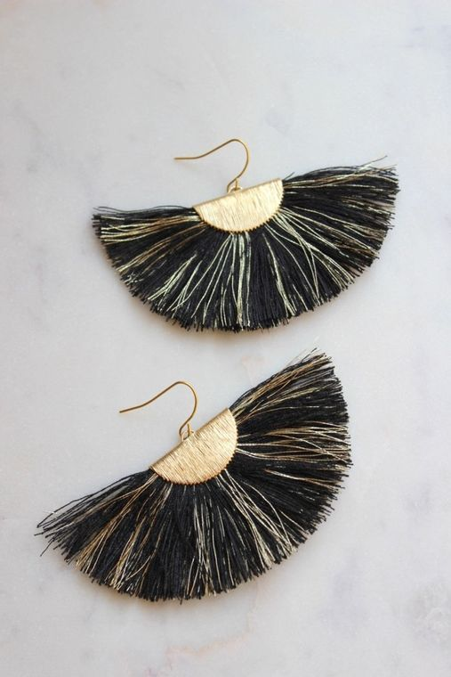 Black Fan Fringe Earrings, Gold Fan Fringe Earrings, Black and Gold Earrings, Gameday Earrings, Fan Tassel Earrings, Black and Gold Jewelry