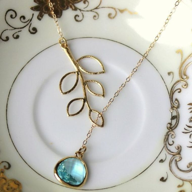 Aquamarine Lariat Necklace Aqua Blue Lariat Leaf Gold Necklace - Bridal Necklace - Bridesmaid Lariat Necklace - Bridesmaid Jewelry Wedding