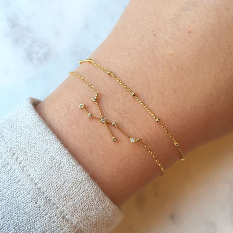 Celestial Jewelry, Gold Zodiac Bracelet, Zodiac Sign Bracelet, Constellation Bracelet Dew Drops Jewelry Astrology Bracelet Dew Drop Bracelet
