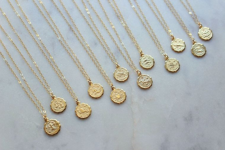 Celestial Jewelry, Gold Zodiac Necklace, Zodiac Coin Necklace, Zodiac Disc Necklace, Gold Zodiac Jewelry, Coin Necklace Zodiac Sign Necklace