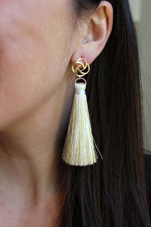Gold Stud Earrings, Gold Tassel Earrings, White and Gold Earrings, Tassel Jewelry, Fringe Jewelry, Bridesmaid Gift, Bridal Party Jewelry