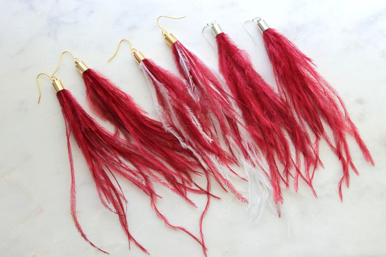 Red Feather Earrings, Red Feather Jewelry, Long Fringe Earrings, Long Feather Earrings, Bohemian Earrings, White Feather Earrings, Gameday
