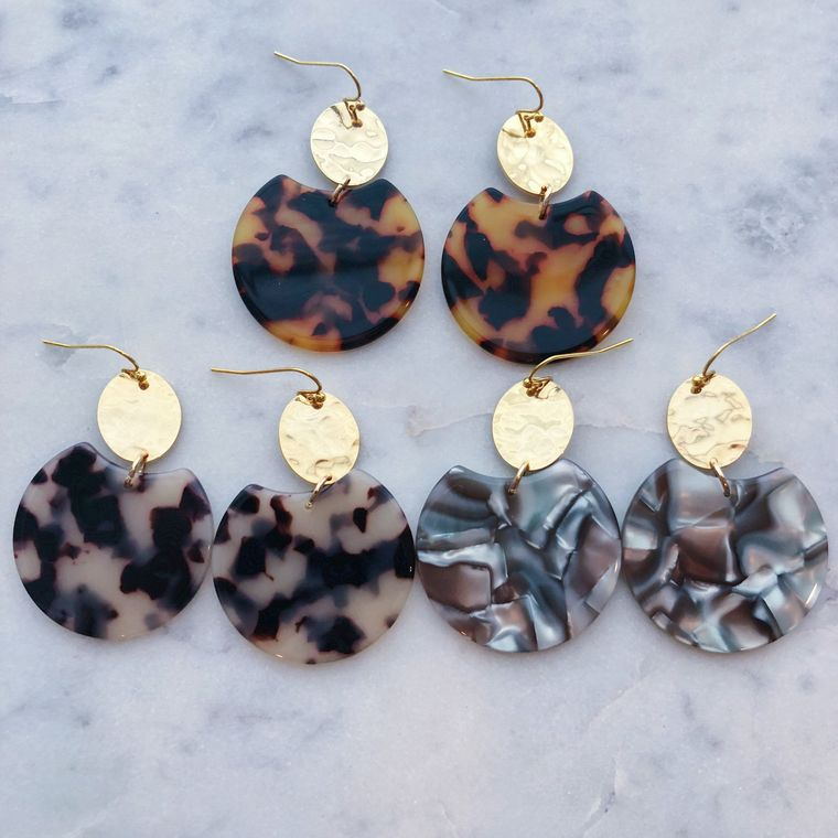 Resin Earrings, Big Earrings, Acrylic Jewelry, Statement Earrings, Gold Earrings, 21st Birthday Gift, 30th Birthday, Tortoise Shell Earrings