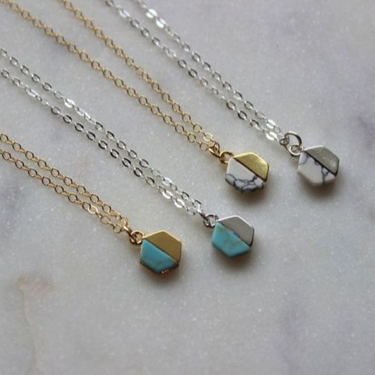 Gold Hexagon Necklace, Silver Hexagon Necklace, Turquoise Necklace, Gold Dainty Necklace, Hexagon Jewelry, Dainty Jewelry, Howlite Necklace