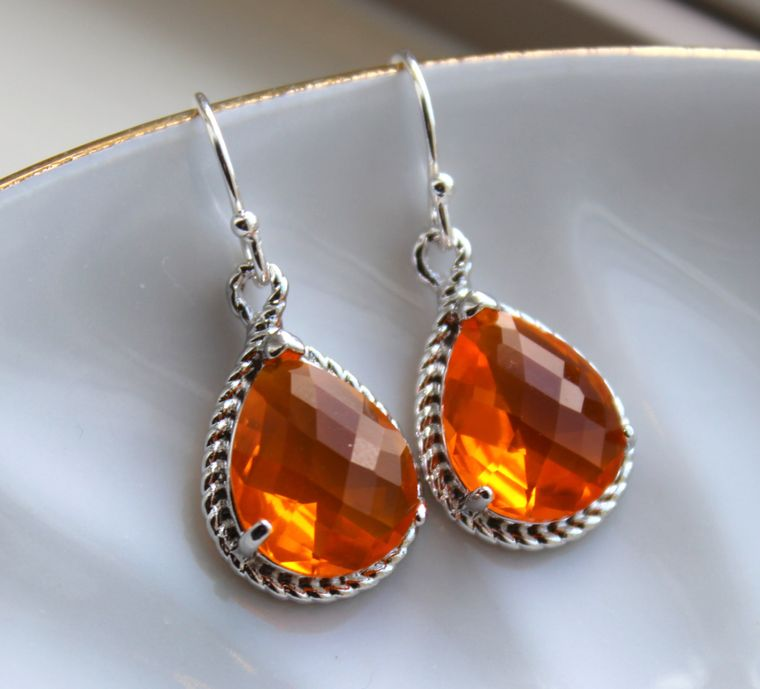 Silver Burnt Orange Earrings Amber Jewelry - Tangerine Bridesmaid Earrings Wedding Earrings Amber Bridesmaid Jewelry Orange Wedding Jewelry