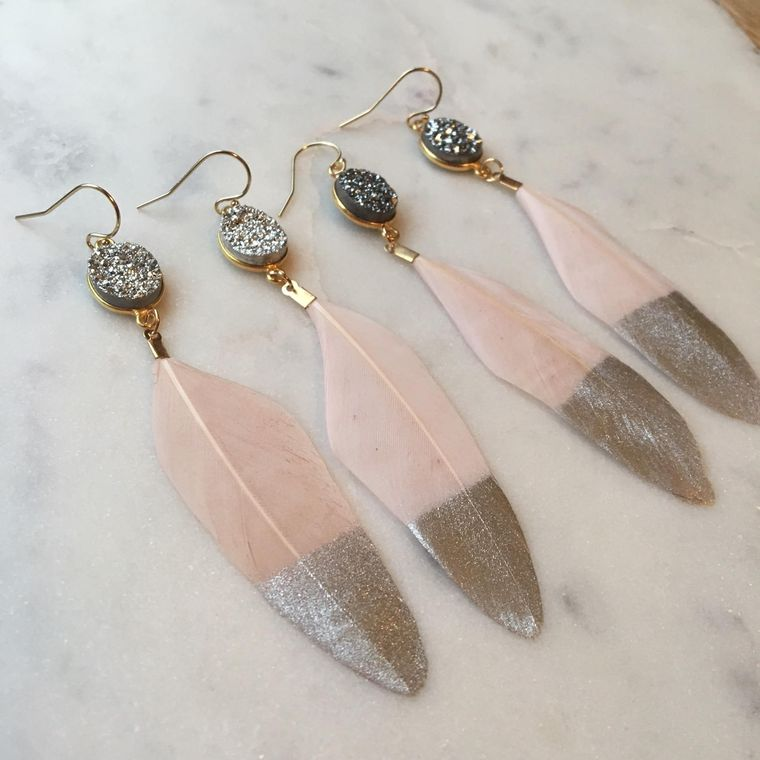 Silver Dipped Feather Earrings, Silver Druzy Earrings, Gold Druzy Earrings, Pink Feather Earrings, Statement Earrings, Fairytale Gift