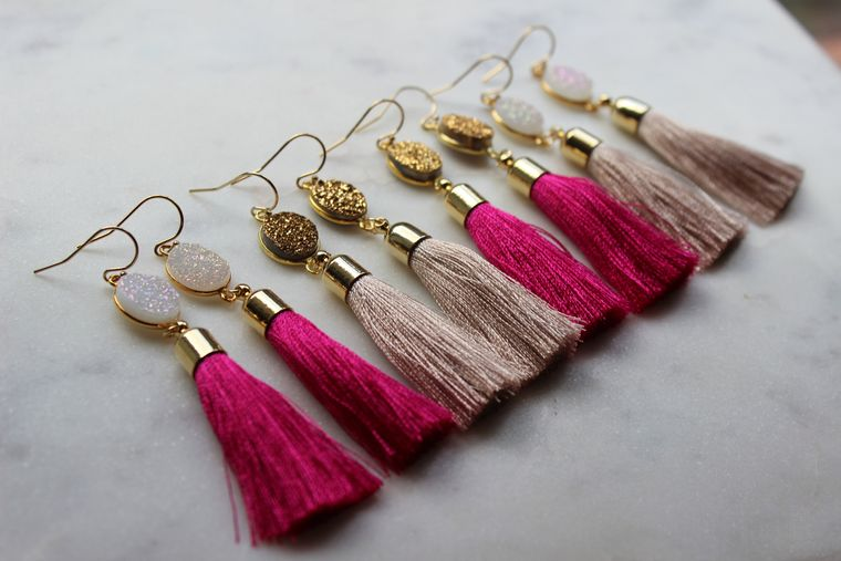 Druzy Earrings, Tassel Earrings, Pink Druzy Earrings, Christmas Gift, Fringe Earrings, Tassel Jewelry, Druzy Tassel Earrings, 30th Birthday