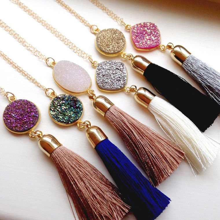 Gold Druzy Tassel Necklace - Gold Druzy Tassel Jewelry - Gold Drusy Necklace - Statement Necklace - Long Drusy Jewelry - Christmas Gift