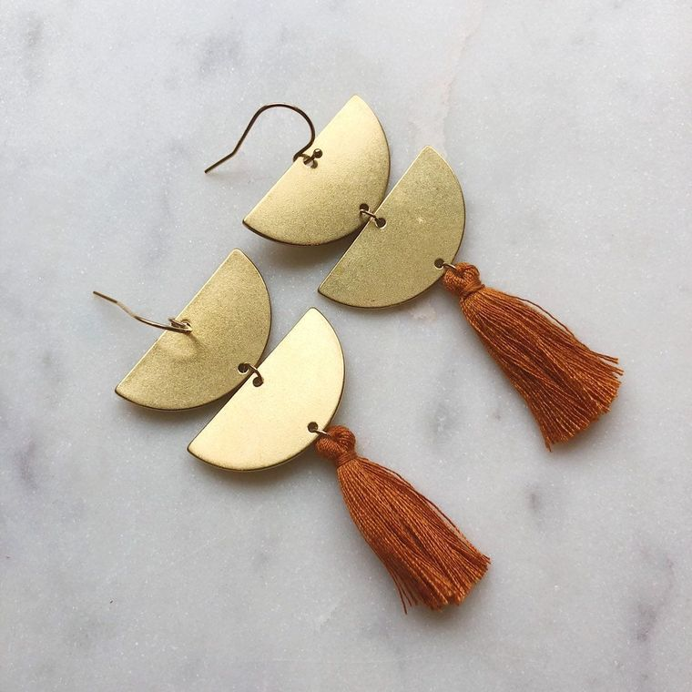 Tiered Tassel Earrings, Gold Tassel Earrings, Gold Fringe Earrings, Beige Tassel Earrings, Brown Tassel Earrings, Gold Statement Earrings