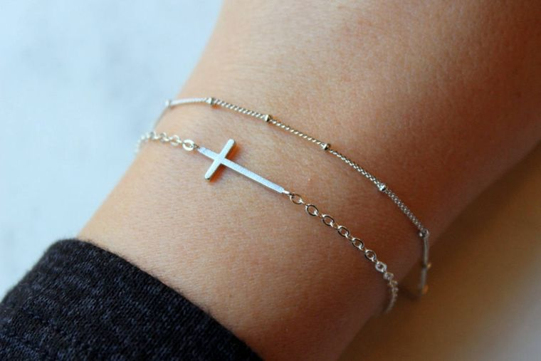 Dainty Bracelet Set, Silver Sideways Cross Bracelet, Sideway Cross, Dew Drop Bracelet Dew Drops Dew Drops Bracelet Trending Now Silver Cross