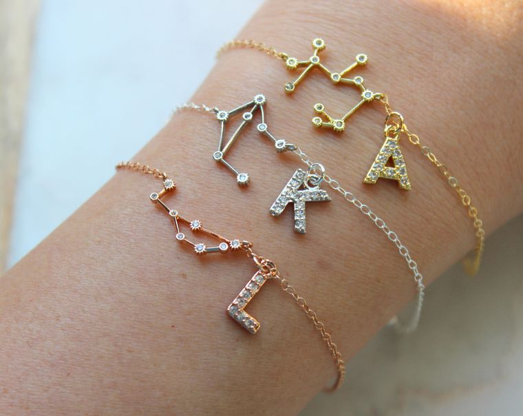 Personalized Jewelry Gift, Personalized Initial Bracelet, Personalized Zodiac Jewelry, Personalized Initial Jewelry Zodiac Celestial Jewelry