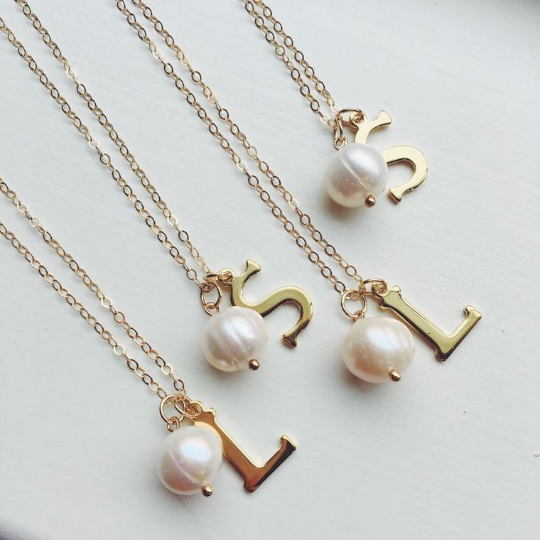 Gold Freshwater White Pearl Necklace with Initial - 14k gold filled chain - Bridesmaid Jewelry - Wedding Jewelry