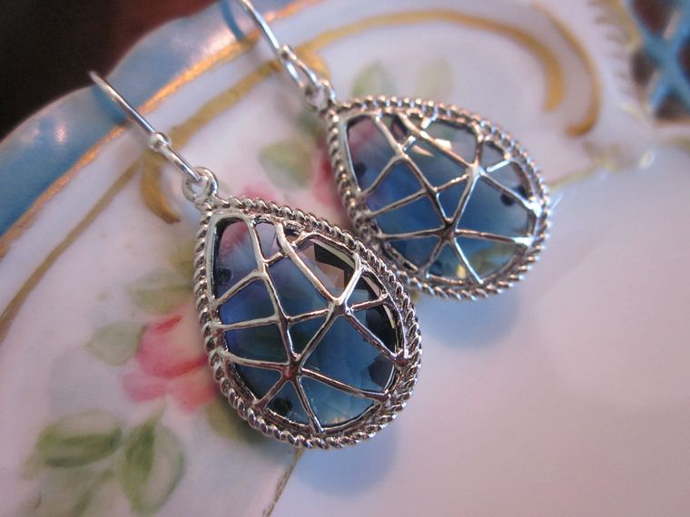 Sapphire Earrings Dark Blue - Sterling Silver Earwires - Bridesmaid Earrings - Bridal Earrings - Wedding Earrings