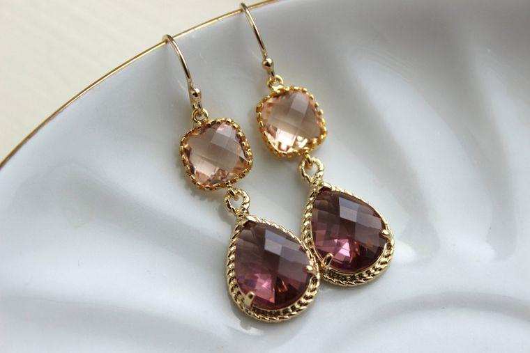 Blush Champagne Eggplant Earrings Gold Purple Earrings Two Tier Bridesmaid Earrings Wedding Earrings Wedding Jewelry Plum Bridesmaid Jewelry