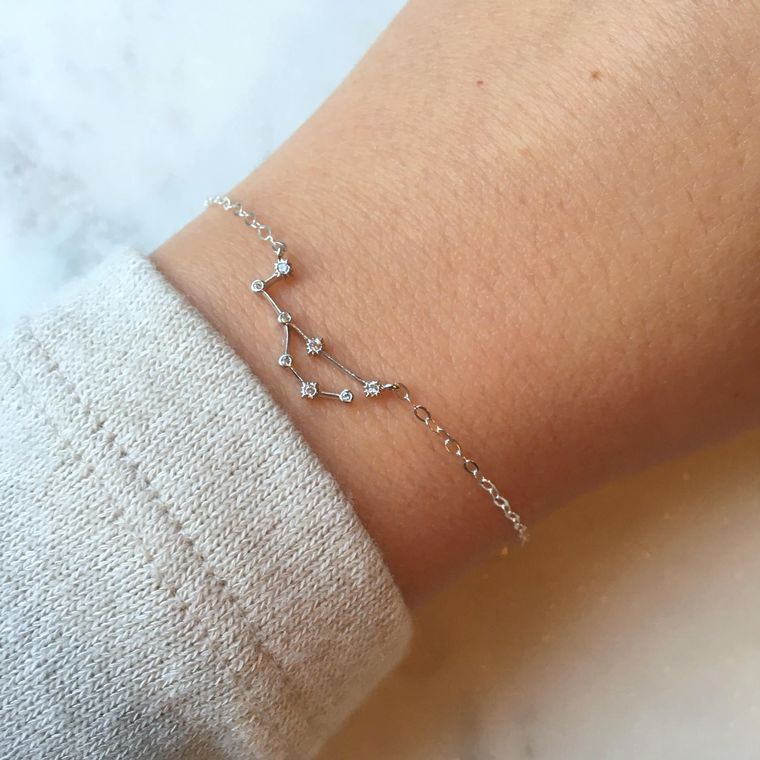 Silver Zodiac Bracelet, Zodiac Sign Bracelet, Constellation Bracelet, Constellation Jewelry, Astrology Bracelet, Inspirational Bracelet