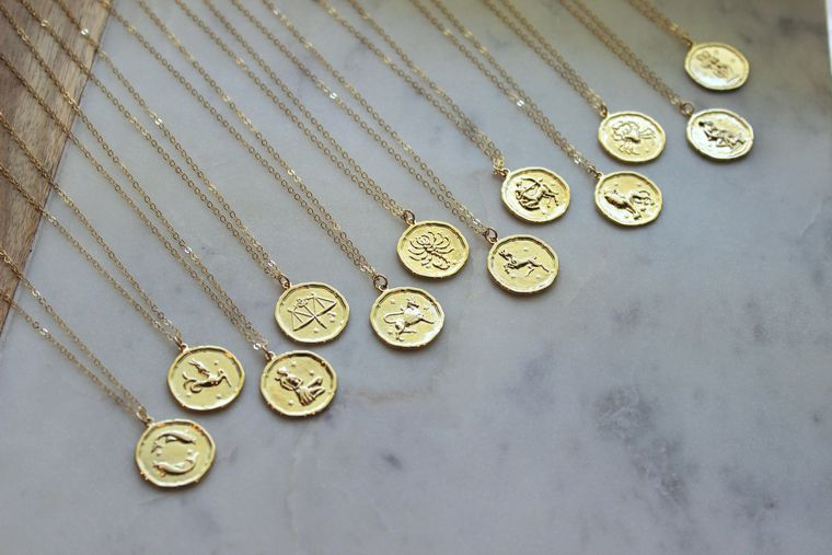 Gold Zodiac Necklace, Zodiac Coin Necklace, Zodiac Disc Necklace, Gold Zodiac Jewelry, Celestial Jewelry, Zodiac Sign Necklace, Layering