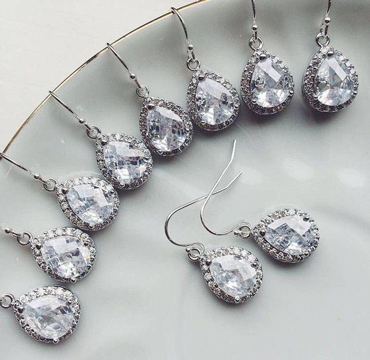 FLASH SALE - Crystal Earrings, Choose Finish - Silver Crystal Jewelry, CZ Jewelry, Wedding Jewelry, Bridesmaid Jewelry