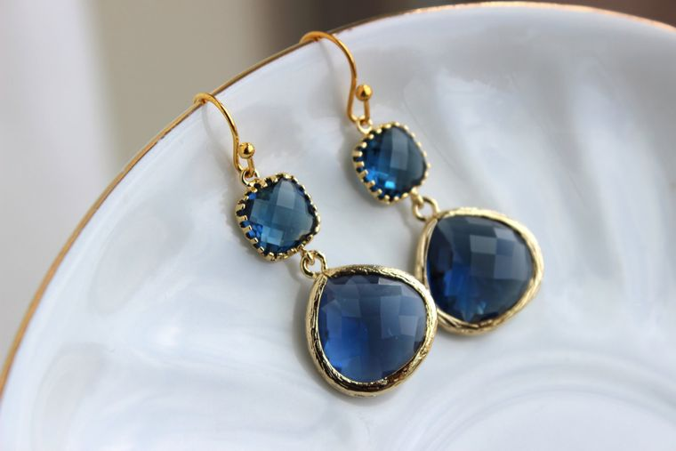 Gold Large Sapphire Earrings Navy Blue Jewelry - Two Tiered Earrings Sapphire Bridesmaid Jewelry - Navy Blue Wedding Jewelry Christmas Gift