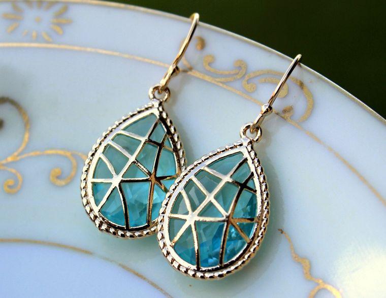 Aquamarine Earrings Blue Gold Teardrop Twisted Design Aqua Bridesmaid Earrings Wedding Earrings Aquamarine Wedding Jewelry Bridesmaid