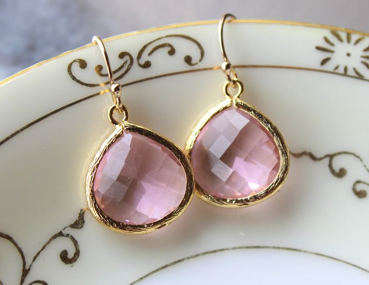 Light Pink Earrings Gold Plated Large Pendant - Wedding Earrings - Bridal Earrings - Bridesmaid Earrings