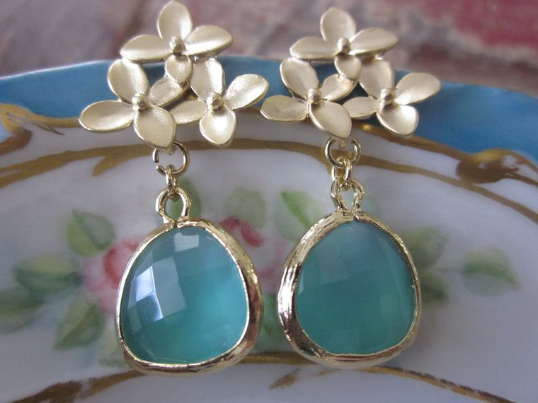 Aqua Blue Earrings Gold Cherry Blossom - Sterling Silver Posts - Bridesmaid Earrings - Valentines Day Gift - Wedding Earrings