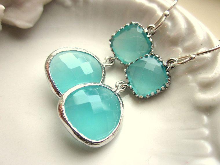 Aqua Mint Blue Earrings Silver - Sterling Silver Earwires - Bridesmaid Earrings Wedding Earrings Bridesmaid Jewelry Wedding Jewelry