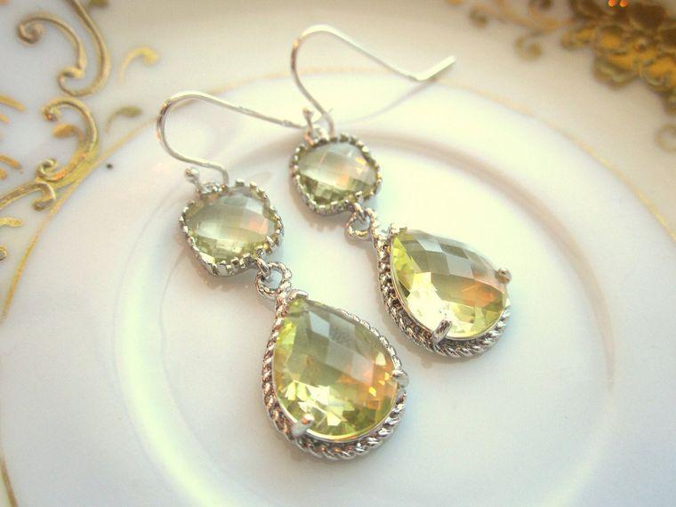 Citrine Earrings Yellow Silver Earrings - Sterling Silver Earwires - Bridesmaid Earrings Wedding Earrings Valentines Day Gift