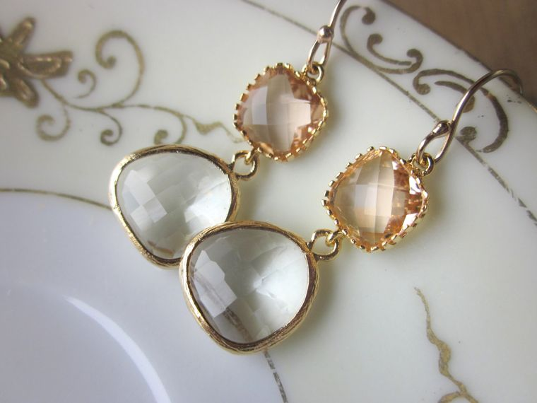 Champagne Peach Earrings Crystal Blush Gold Plated - Bridesmaid Earrings - Wedding Earrings - Wedding Jewelry