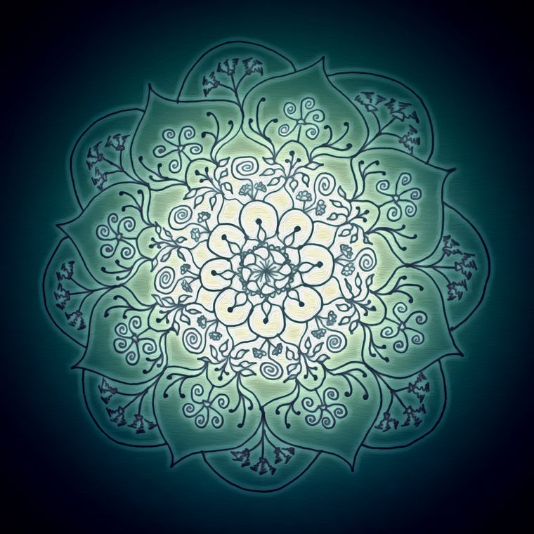Blessed Rain Mandala (Glow) Giclée Print