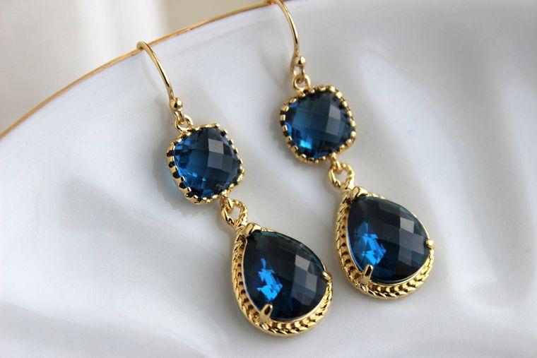 Gold Sapphire Earrings Navy Blue Jewelry Teardrop Glass Two Tier - Sapphire Bridesmaid Earrings Navy Blue Wedding Jewelry - Something Blue