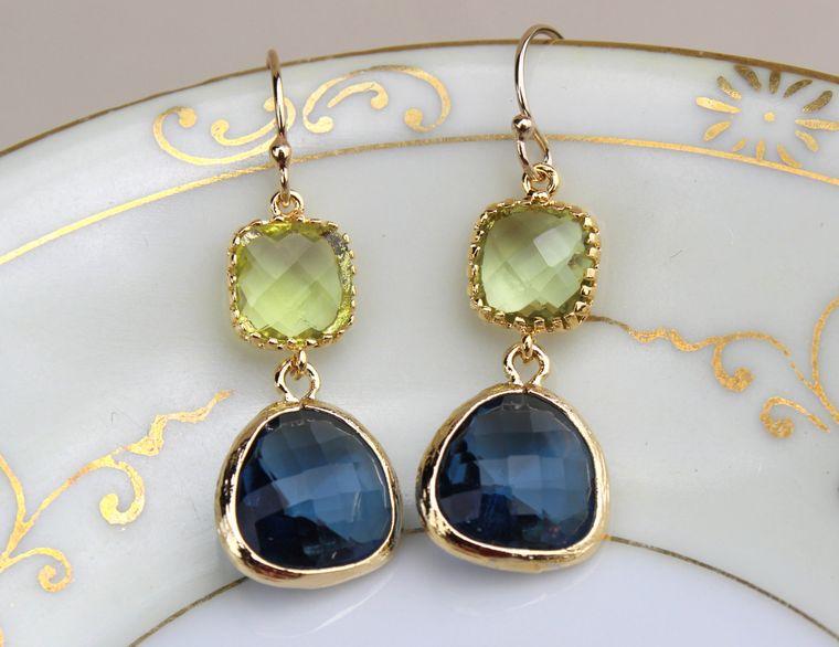 Peridot Green Earrings Sapphire Navy Gold Plated Glass - Bridesmaid Earrings - Wedding Earrings - Bridesmaid Jewelry - Wedding Jewelry