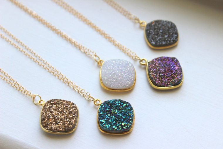 Gold Druzy Necklace Natural Druzy Jewelry - Drusy Necklace Jewelry - Green Purple White Gold Gray Druzy Layering Necklace Statement Jewelry