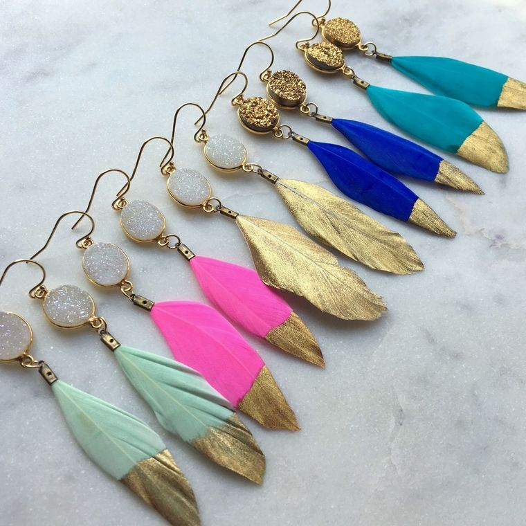 Gold Dipped Feather Earrings, Gold Druzy Earrings, White Druzy Earrings, Feather Earrings, Statement Gold Dipped Feathers, Unique Gifts