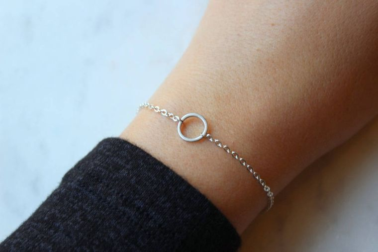 Silver Circle Bracelet, Mom Gift from Son, Geometric Bracelet, Open Circle, Karma Bracelet, Good Vibes Only Good Karma Bracelet Gift for Her