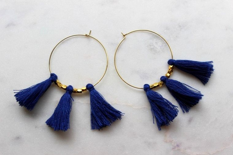 Blue Fringe Earrings, Blue Tassel Earrings, Blue Tassel Jewelry, Blue and Gold Jewelry, Blue and Gold Earrings, Gold Hoop Earrings, Gameday