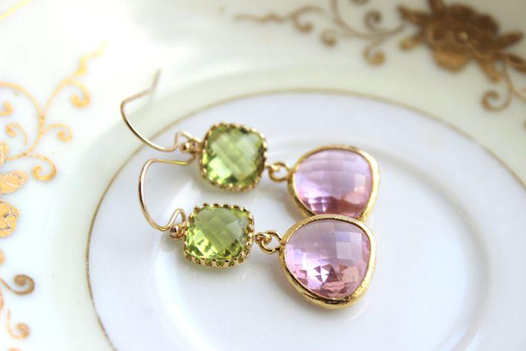 Peridot Earrings Pink Apple Green Jewelry Gold Light Pink - Bridesmaid Earrings Peridot Green Wedding Earrings Blush Pink Bridesmaid Jewelry