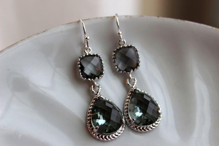 Charcoal Gray Earrings Silver Earrings Teardrop Glass Two Tier - Pewter Bridesmaid Earrings Wedding Earrings Gray Grey Wedding Jewelry