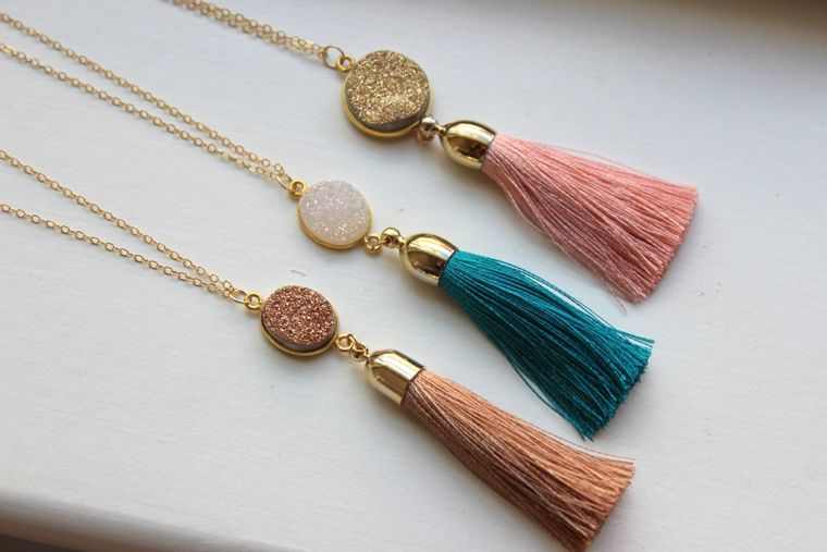 Gold Tassel Necklace Drusy Jewelry Drusy Necklace Fringe Tassel Druzy Necklace - Tassel Layering Statement Necklace Jewelry Christmas Gift