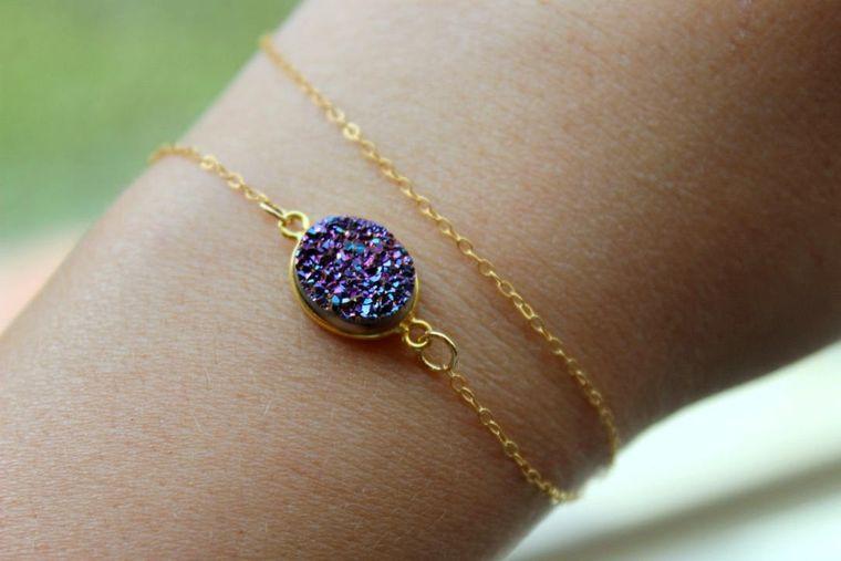 Purple Druzy Bracelet, Layering Bracelet Set, Dainty Bracelets, Dainty Bracelet Set, Simple Bracelet, Druzy Jewelry, Purple Drusy Bracelet