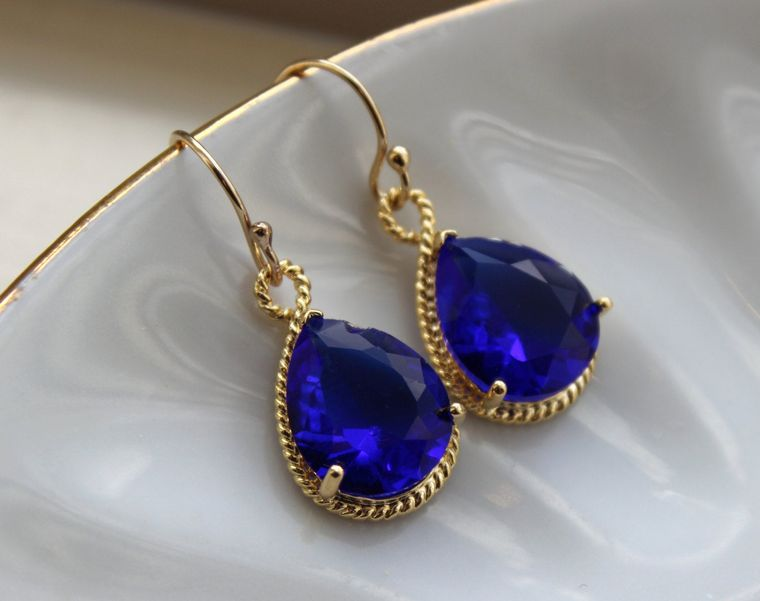 Gold Cobalt Blue Earrings Electric Blue Jewelry Earrings - Bridesmaid Earrings Electric Blue Wedding Jewelry Bridal Earrings Cobalt Wedding