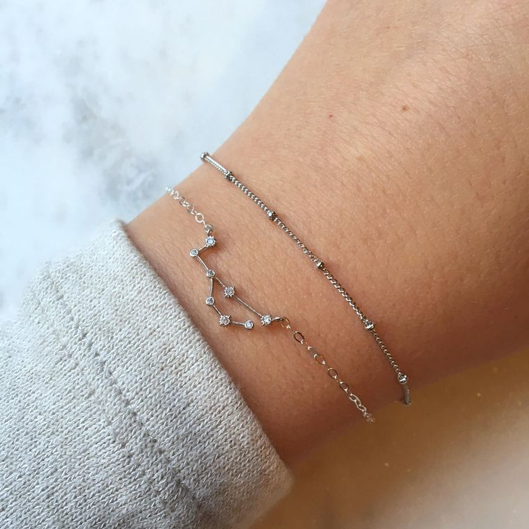 Celestial Jewelry, Silver Zodiac Bracelet, Zodiac Sign Jewelry Constellation Bracelet Dew Drops Jewelry Astrology Bracelet Dew Drop Bracelet