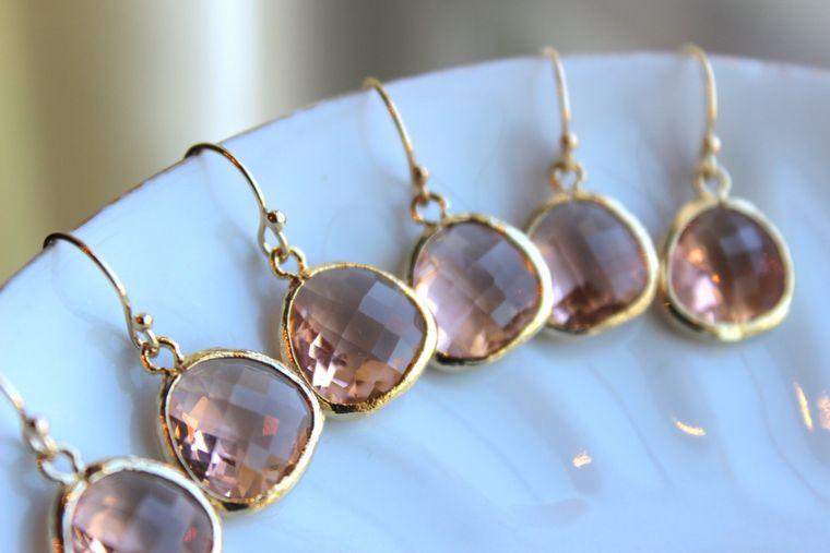 Blush Jewelry Sets, Blush Bridal Jewelry, Blush Pink Earrings, Pink Blush Earrings, Blush Earrings, Bridal Party Gift, Bridesmaid Proposal