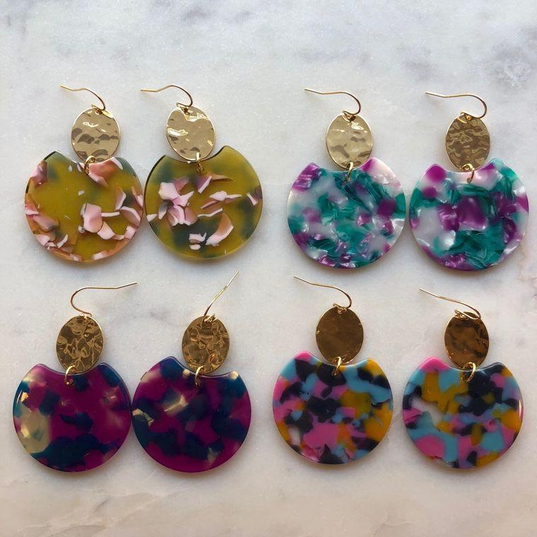 Jewelry Gift, Resin Earrings, Acrylic Jewelry, Statement Earrings, Gold Earrings, 21st Birthday Gift, 30th Birthday, Tortoise Shell Earrings