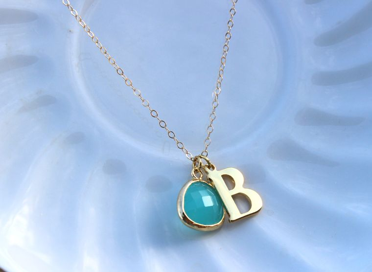 Any Letter & Color Pendant - Mint Initial Necklace Letter Jewelry Charm Personalized Necklace Valentines Day Gift Monogram Necklace Letter