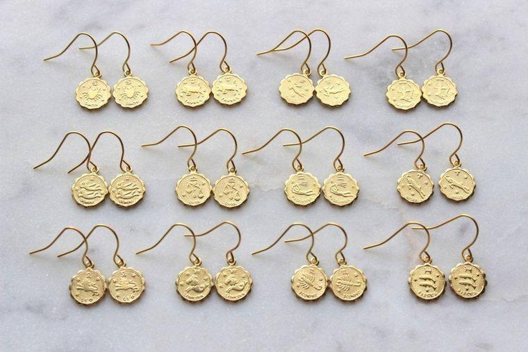 Zodiac Earrings Gold, Gold Constellation Earrings, Horoscope Earrings, Gold Zodiac Earrings, Dainty Zodiac Jewelry, Wanderlust Earrings