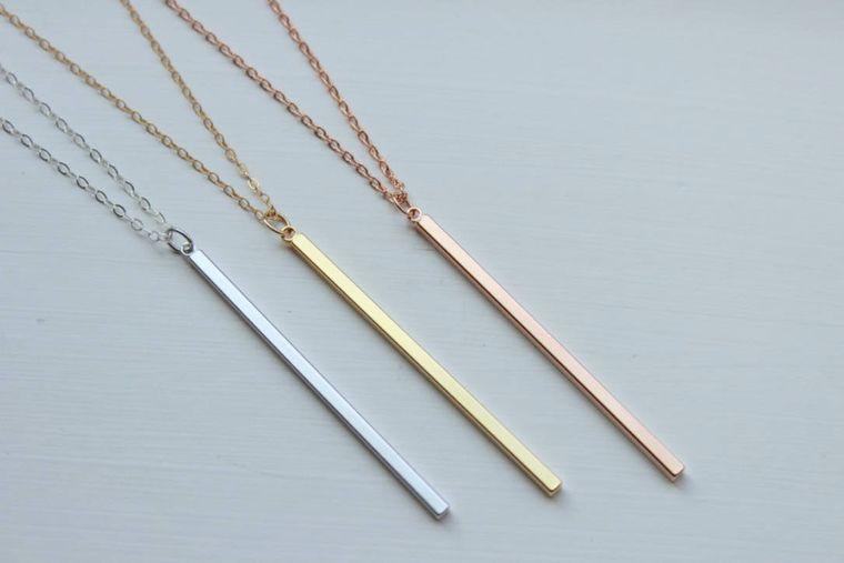 Vertical Bar Necklace, Vertical Bars, Skinny Bar Necklace, Rose Gold Drop Bar, Rose Gold Bar Drop, Skinny Bar Necklaces, Coworker Gift