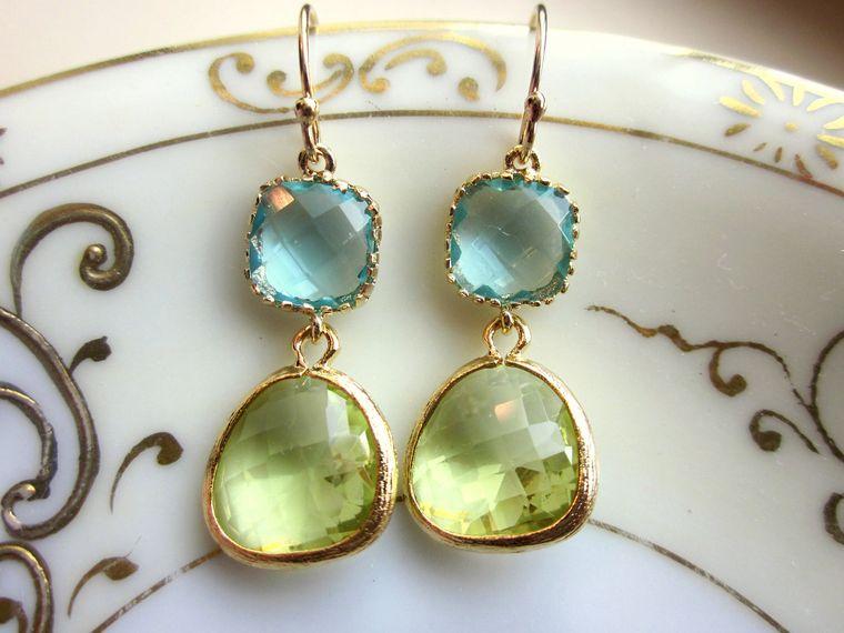 Peridot Earrings Aquamarine Gold Plated - Bridesmaid Earrings - Wedding Earrings - Valentines Day Gift