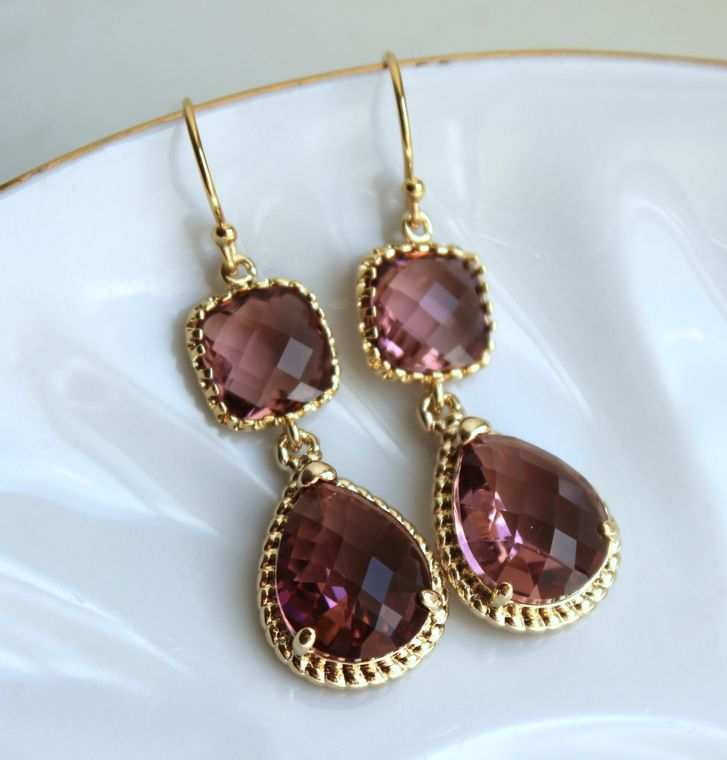 Gold Eggplant Earrings Gold Purple Earrings Two Tier Plum Bridesmaid Earrings Wedding Earrings Wedding Jewelry Plum Bridesmaid Jewelry