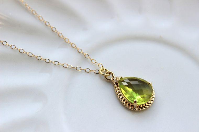Gold Peridot Necklace Apple Green Teardrop Jewelry - Bridesmaid Necklace - Peridot Bridesmaid Jewelry Peridot Apple Green Wedding Jewelry